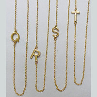 """Almost 1/2"""" Sideways Initial Necklaces Gold over Stainless or Stainless Steel"""