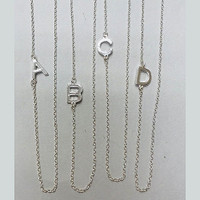 """Almost 1/2"""" Sideways Initial Necklaces Stainless Steel"""