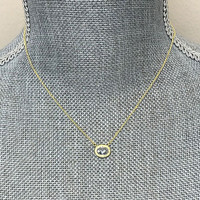Freida Rothman Faceted Oval Bezel Necklace in Gold