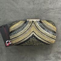 """Dripping in Jewels"" Embellished Black and Gold Clutch"