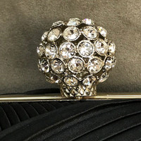 Black Satin Pleated Clutch with Crystal Ball Clasp