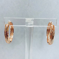 Rose Gold Vermeil With Multi-Colored Crystal Pave Infinity Hoop