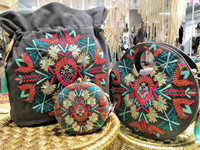 Embroidered Round Hand-Held Bag