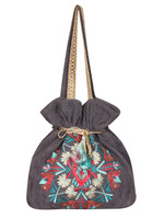 Gray Embroidered Drawstring Hobo Bag