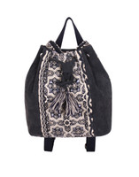 Black & Taupe Jacquard Backpack