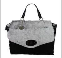 Black Super Soft Faux Fur Slouchy Messenger Bag