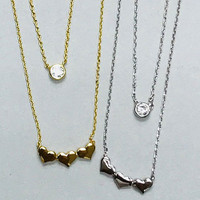 Triple Heart Layered Necklace