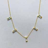 Five Set Baguette Blue Topaz Necklace