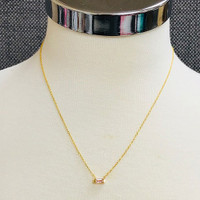 Pink Crystal Single Baguette Necklace