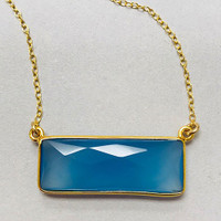 Royal Blue Chalcedony Rectangle 24K Gold Vermeil Necklace