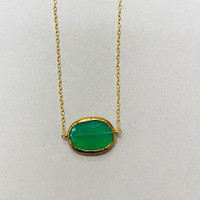 Green Chrysoprase Oval in 24K Gold Vermeil Necklace