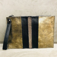 Sondra Roberts Color-Blocked Bronze Metallic Wristlet