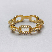 Cubic Zirconia Rectangular Linked Chain Gold Ring