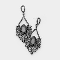 Black Crystal Filigree Elegance Earring