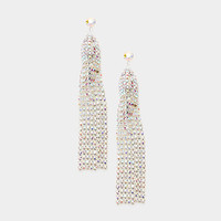 Party Time Crystal Tassel Earrings Silver AB