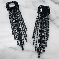 Emerald Cut Jet Black Crystal Fringe Earring