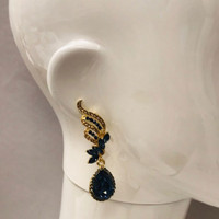 Montana Navy Blue and Gold Crystal Earrings