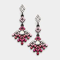 Aztec Pattern Crystal Earrings