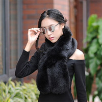 "Luxurious Faux Fur 47"" Pull Through Scarves"