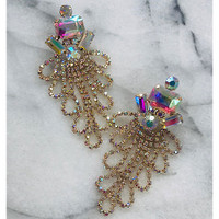 The Madison Aurora Borealis Draped Crystal Earring in Gold