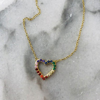 Rainbow Cubic Zirconia Heart Necklace In Gold Vermeil