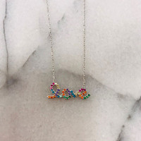 Sterling Silver Rainbow Cubic Zirconia LOVE Necklace