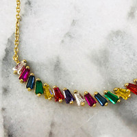 Rainbow Cubic Zirconia in a Gold Vermeil Curved Bar Necklace