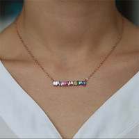 Rainbow Baguette Cubic Zirconia Bar Necklace