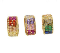 Rainbow Cubic Zirconia Baguette Double Wide Band Ring