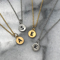 """Petite & Dainty 1/4"""" Etched Initial Necklaces"""