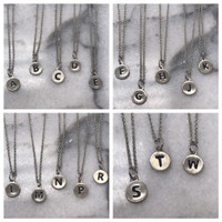 "Petite & Dainty 1/4"" Etched Initial Necklaces"