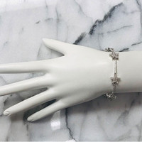 Cubic Zirconia Star & Bar Linked Bracelet