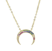 Inverted Rainbow Cubic Zirconia Moon Necklace