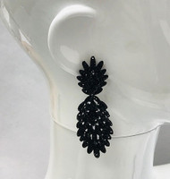 Black on Black Crystal Feather Earring