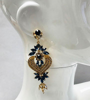 Navy and Gold Crystal Sophia Earring