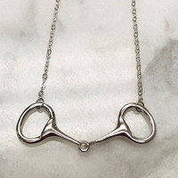 Equestrian Horse Bit  Sterling Silver Necklace