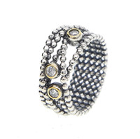 Triple Cubic Zirconia Bullet Beaded Sterling Silver Ring