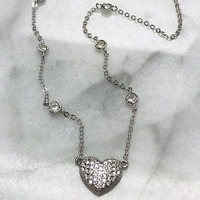 Sterling Silver Pavé Cubic Zirconia Heart