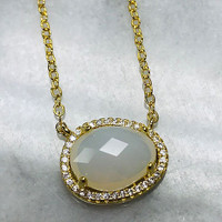 Moonstone With Micro Pave Cubic Zirconia