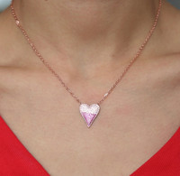 Rose Gold Modern Ombre Cubic Zirconia Heart Necklace