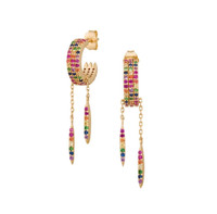 Multi-Colored Cubic Zirconia Hoop with Dangles in Gold