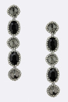 Faceted Five Crystal Dangle Earring in Hematite andBlack