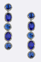 Faceted Five Crystal Dangle Earring in Hematite and Montana Navy