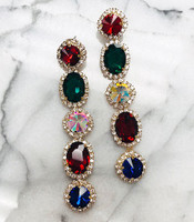 Faceted Five Crystal Dangle Earring in Gold and Multi