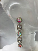 Faceted Five Crystal Dangle Earring in Silver AB