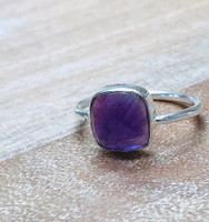 Cushion Cut Amethyst Bezel Sterling Silver Ring