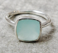 Beautiful Chalcedony Cushion Sterling Silver Bezel Ring