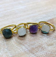 Mystical Moonstone Cushion Vermeil Ring