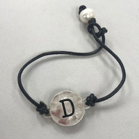 Leather Cord and Pearl Initial Bracelet