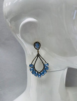 Opaque Opal Crystals with Antique Gold Earring